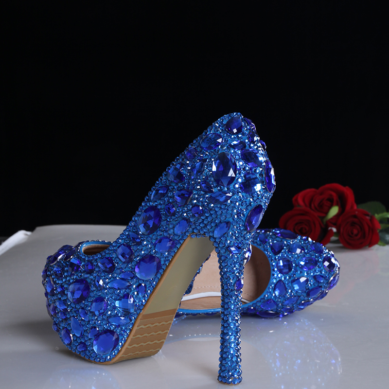 2016 spring blue crystal bridal wedding shoes up heel platform shoes genuine leather comfortable insole women pumps plus size