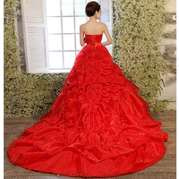 Free Shiping!2012 Luxury Princess Sweet Royal Train Off The Shoulder Voile Red Bride Lace Up Wedding Dress