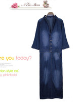 Женское платье spring women's after placketing d0388 casual loose brief long-sleeve denim jumpsuit full dress