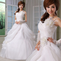 Свадебное платье Love feather one shoulder flower bride wedding 2012 sweet princess wedding dress