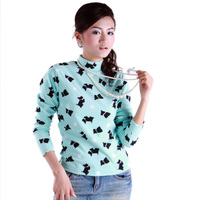 Women polar fleece fabric print stand collar shirt autumn basic shirt