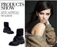 Женские ботинки 2013 autumn fashion yarn knitted bow women's shoes gladiator style boots shoes