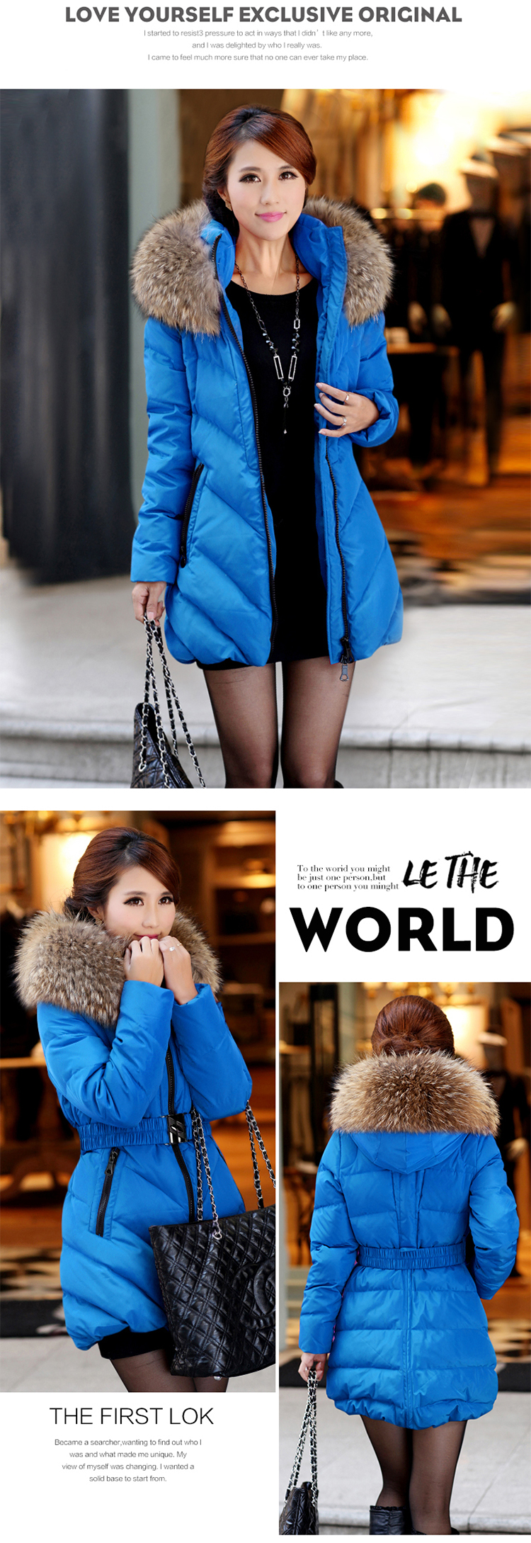 Free shipping Winter plus size clothing  cotton-padded jacket 2016 medium-long hooded Fur collar wadded jacket outerwear 100kg