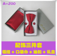 Bridegroom bow tie male formal pocket towel cufflinks gown collar belt male