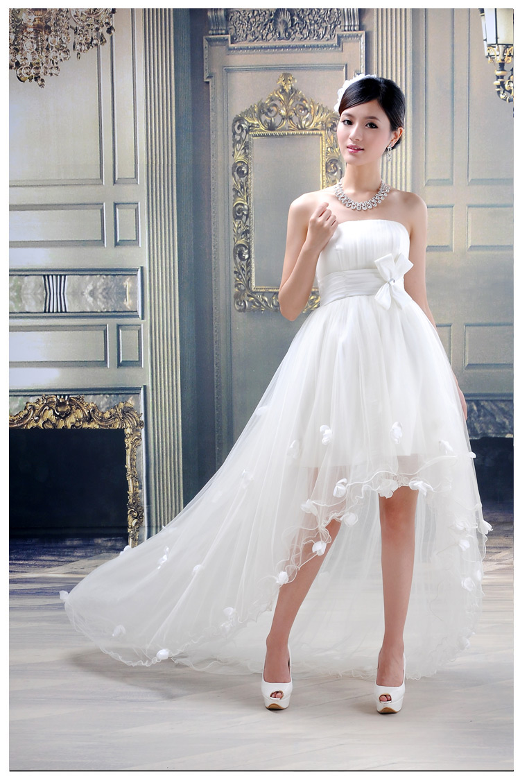 Flower round train wedding dress fish tail short front with nice ...