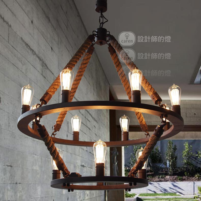 New industral loft 12 lights round chandelier vintage 2 iron ring new industral loft 12 lights round chandelier vintage 2 iron ring hemp rope hanging pendant lamps free shipping in pendant lights from lights lighting on aloadofball