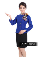 Женский костюм с юбкой Work wear autumn and winter female flight attendants clothing front desk waiter uniform long-sleeve